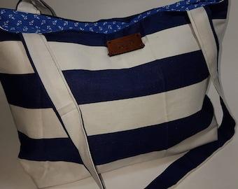 Striped nautical tote