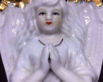 2x Porcelain Angels for Holy water