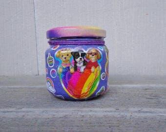 Kawaii Cute Animals Lisa Frank Purple Rainbow Sticker Stash Jar One of a Kind Handpainted Upcycled Glass Nug Jug
