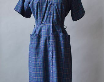 Vintage 1950s Dress / Shirt Dress / Cotton Plaid Dress / Blue Plaid Dress / Plaid Shirt Dress / Dress with Pockets / Lynda Lou Dress