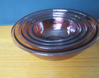 Vintage PYREX Corning Cranberry Visions Nesting Mixing Bowl Set of 4
