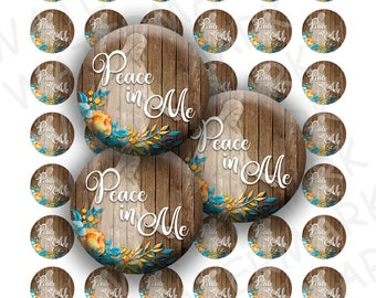 "Young Women 2018 Theme - Peace in Me - Peace in Christ - Bottlecap Collage Sheet - 1"" Round Circles - Full Page and 4x6 - INSTANT DOWNLOAD"