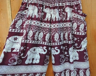 Deep Red Burgundy with Off White Elephant Harem Pants with Two Side Pockets // Elastic Waist and Ankles // 100% Cotton // One Size Fits Most