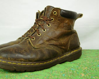 Vintage Doc Marten Six-Hole Brown Boots - Size 9 U.K, 10 men's U.S, 11 women's U.S - Made in England - D316