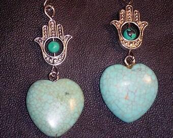 Hamza /Evil Eye/ Blue/ Howlite/ Turquoise /Earrings/ Protection Earrings