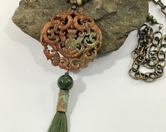 Carved Jade Pendant, Tassel Necklace , Asian Inspired Jewelry