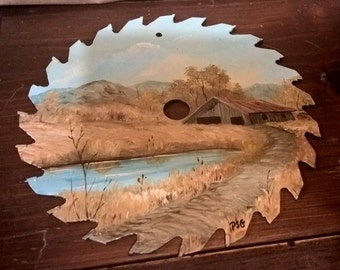 Vintage Saw Blade Hand Painted Meadow Scene.