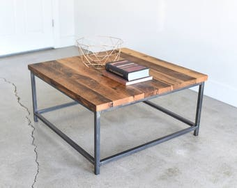 Square Coffee Table / Rustic Reclaimed Wood and Steel Box Frame Table