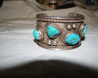 1-M Native American Vintage Sterling & 4 Turquoise stone  Bracelet