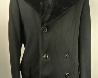 1970's Chilproof Solid Black Wool Double Breasted W/ Shearling Collar Overcoat Men's Size: 42