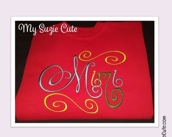 Mimi Shirt with Colored Elegant Script Embroidery on Cardinal Red Shirt.  Mimi Gift for Christmas, Mother's Day or Pregnancy Announcement