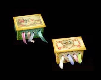 Miniature Ribbon Box OOAK - Birds Themes  - 1/12 scale