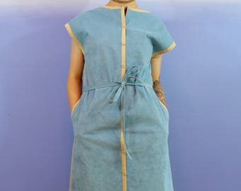 60s Sky Blue and Beige Ultra-Suede Shift Dress  - LARGE
