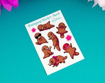 Funny Platypus Sticker by Neophobica - Lovely Sticker Set - Platypup Sticker-Sheet