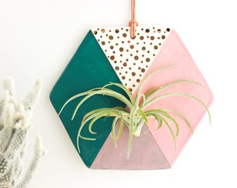 Hexagon Wall Decor, Air Plant Wall Hanging, Air Plant Wall Holder, Air Plant Wall Hanger, Gold Home Decor, Ceramic Wall Hanging, Air Planter
