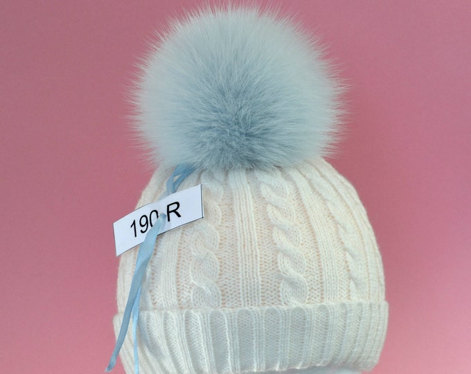 "6"" FOX FUR POM Pom! Real Fur Pom Pom, Fox Pom-Pom, Blue Pom Pom, Genuine Fur Pom Pom, Winter Hat Pom Pom, Women Pom Pom Hat, Knitted hat"