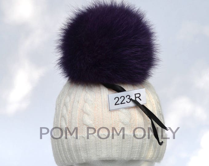 "6,5"" FOX FUR POMPOM! Really Unique Fur Pom-Pom, Fox Fur Pom Pom, Purple Fur Pom Pom, Large Pom Pom, Real Fur, Knitted Hat, Children, Girl"