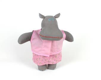 Hippo dress up doll Macy the Mippo -Hippopotamus fabric doll -Handmade collectible doll -Stuffed animal -Soft doll one of a kind cuddly toy