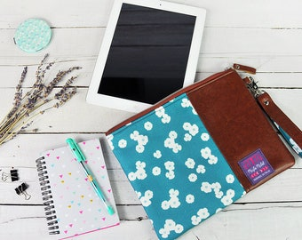 Tablet Case 9.7 Ipad Sleeve 10.5 Ipad Pro 10.1 Samsung Tab S2 S3 Ipad Accessories Computer Storage Brown Recycled Leather Teal Blue Flower