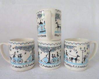 Aqua Amish Coffee Mugs