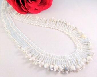 Boho White Necklace, Romantic Beadwork Chic Beaded Jewelry, White Gemstone Necklace, Beadwork Fringe, White Bib Jewelry, Elegant Gift