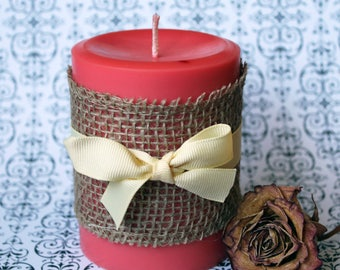 Cranberry pillar Candle, 14 ounce, imperfect, winter candle, fruit scented candle, decorative pillar candle,