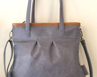 Leather tote bag, light blue leather shopper,large leather bag,cross body bag