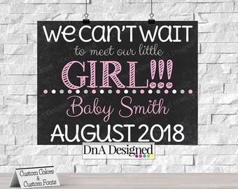 Printed Chalkboard Pregnancy Announcement Sign - We can't Wait to Meet our Little Girl Print - {79CP}