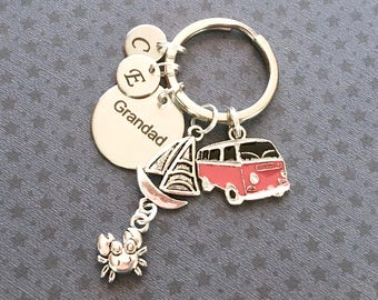 Personalised Grandad keyring - Camper Van keyring - Birthday gift for Grandad - Camper Van keychain - Camping gift - Grandad gift - Etsy UK
