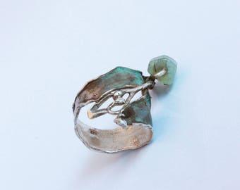 Silver ring with patina finish and blue Aquamarine gemstone