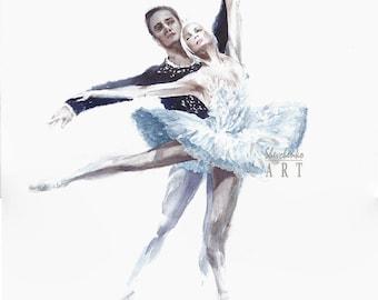 "Original watercolor painting ballet dancers Swan Lake ballet ballerina home decor wall decor 11x14"""