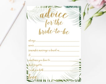 Advice for Bride-to-Be Game, Tropical Bridal Shower Games Printable, Tropical Bridal Shower Game, Tropical Advice Cards for Bride, BRS4