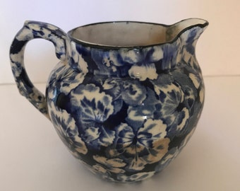 "Rare find Vintage Buffalo Pottery ""Geranium"" Creamer Pitcher Flow Blue Buffalo China Pottery- Early Mark-"