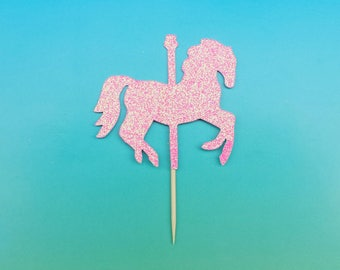 Carousel Horse cupcake toppers -set of 12-glitter-birthday-wedding-baby shower-bridal shower-party-carnival-merry go round