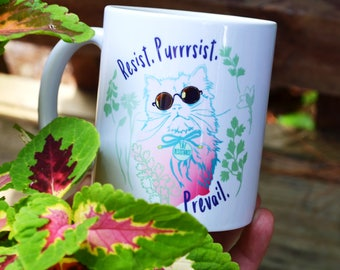 Feminist Mug: Resist Purrrsist Prevail, Feminist Cat Lady, FREE US SHIPPING