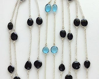 Long Gemstone and Silver Station Necklace/Bracelet - Faceted Black Onyx and Hydro Blue Topaz Convertible Station Chain Jewelry