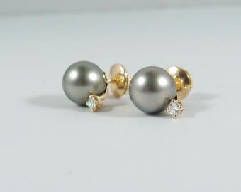 Tahitian Pearl Stud Earrings enhanced with 0.12 ctw diamonds set in 18K solid gold with 18K Alpa quality push back closure