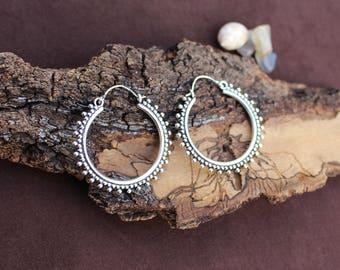 Big Hoop Silver Plated Earrings, Tribal Jewellery, Ethnic Earrings, Dotted Earrings, Boho Earrings, White Brass Earrings, Boucles Laiton
