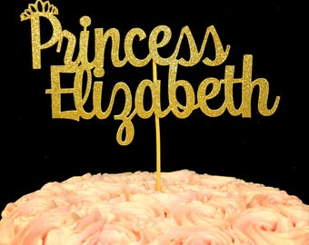 Princess Cake topper, Personalized Name Topper, Birthday Cake Topper, Princess Topper, Princess party