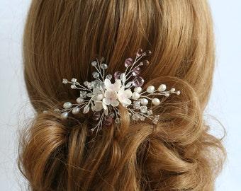 Light pink Flower hair pin, Bridal hair pin, Wedding hair pin, Bridal hair accessories, Bridal flower pins, Wedding flower pin, Pink hair