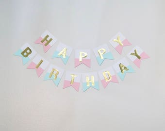 Gold Foil Birthday Banner (Pink and Teal)