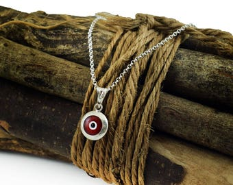 Red Evil Eye Necklace, Sterling Silver Evil Eye Protection Necklace, greek mati, hamsa, kabbalah necklace