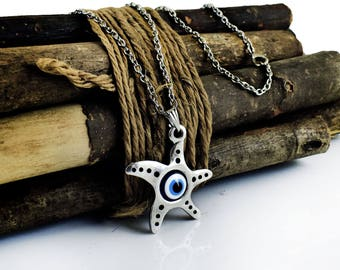 Evil eye protection necklace, Starfish Pendant, Greek Mati, Hamsa, Nazar, Evil Eye Jewelry, Summer Necklace