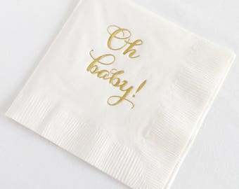 White Baby Shower Napkins, Set of 25 | surprise baby shower, white baby shower napkins, gold foil baby shower napkins, baby shower napkins