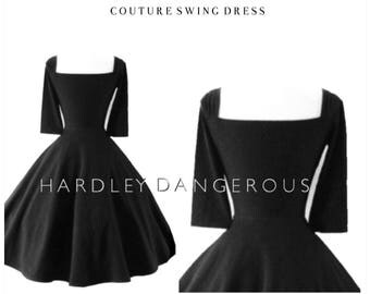 Little Black Dress by Hardley Dangerous Couture, Retro Casual Mod Punk Rock n Roll Stretch Knit Swing Dress, You Choose the Fabric!