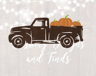 DIGITAL DOWNLOAD svg png fall truck tree retro vintage holiday pumpkin silhouette cricut cut file vinyl HTV boy girl shirt print