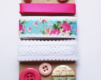 Shabby Chic Embellishment Pack1-Ribbon Assortment-Buttons/Hot Pink, Blue and White/Cottage Chic Ribbon/Lace/Flair Button/Trim Pack