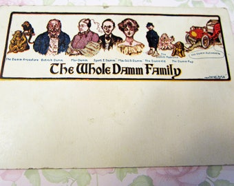 Vintage Postcard The Whole Damm Family from The Damm Ancestors to The Damm Automobile Used Copyright 1905 Chicago Illinois
