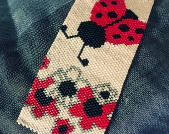 Lady Bug Peyote Cuff Bracelet / Beaded Bracelet / Handmade Bracelet /Free Standard Shipping