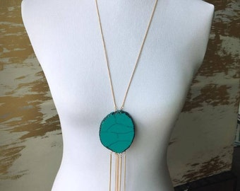 Long Tassel Necklaces | Statement Necklace | Turquoise Necklace  | Blue necklace Boho Bohemian necklace Hippie Necklace Summer jewelry